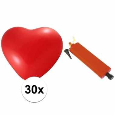 Valentijn ballonnenset 30 hartjes met pomp