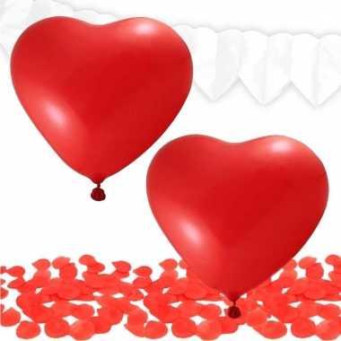 Valentijn decoratie pakket rood/wit