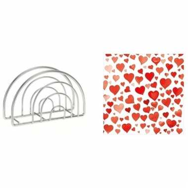 Valentijn tafelversiering hart print servetten in houder