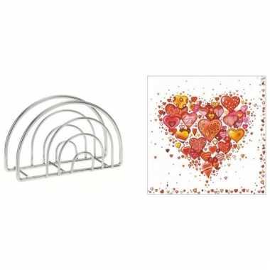 Valentijn tafelversiering harten print servetten in houder