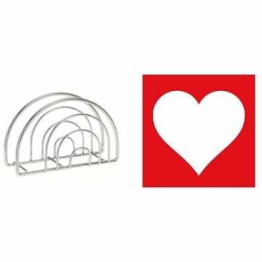 Valentijn tafelversiering rood witte hart servetten in houder