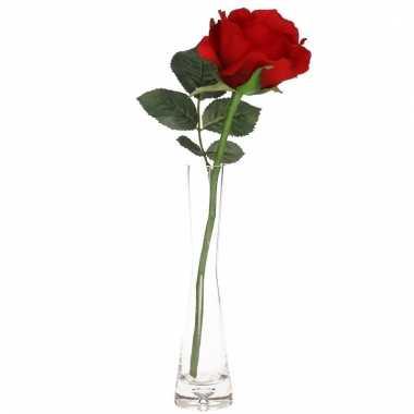 Valentijns kado nep rode roos 30 cm in smalle vaas