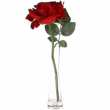 Valentijns kado nep rode roos 31 cm in smalle vaas