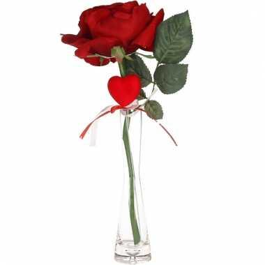 Valentijns kado nep rode roos 31 cm met hartje in smalle vaas