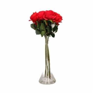 Valentijns kado nep rode rozen 10 stuks in vaas