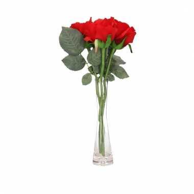 Valentijns kado nep rode rozen 3 stuks in vaas