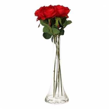 Valentijns kado nep rode rozen 5 stuks in vaas