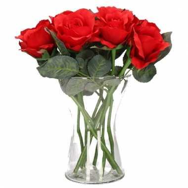 Valentijns kado nep rode rozen 8 stuks in vaas