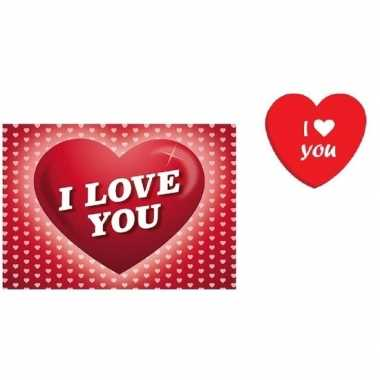 Valentijnsdag cadeau i love you snoepjes blikje met kaart