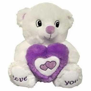 Valentijnsdag pluche paars/witte beer love you met hart 31 cm