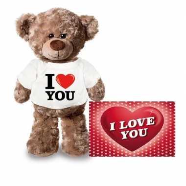Valentijnskaart en knuffelbeer 24 cm met i love you shirt