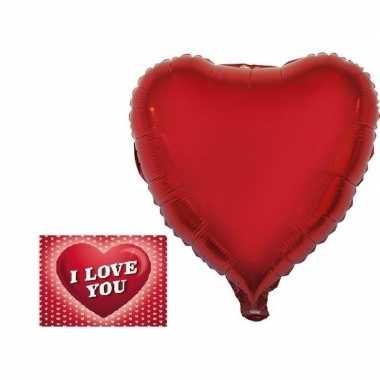 Valetijnsdag cadeau folie ballon hart 52 cm met valentijnskaart