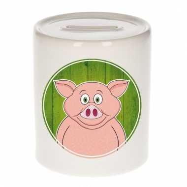 Varkens spaarpot van keramiek 9 cm