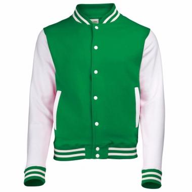 Varsity jacket groen/wit voor heren