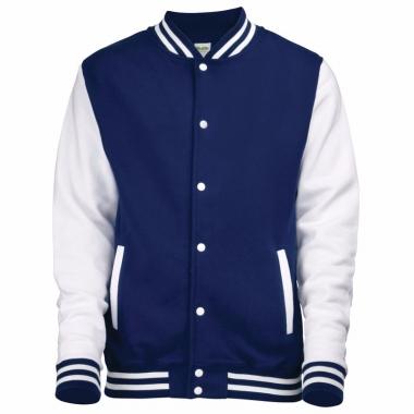 Varsity jacket navy/wit voor heren