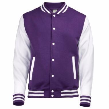 Varsity jacket paars/wit voor heren