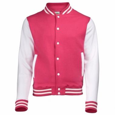 Varsity jacket roze/wit voor dames