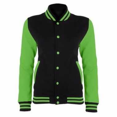 Varsity jacket zwart/fluorgroen voor dames