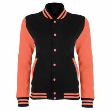 Varsity jacket zwart/fluororanje voor dames