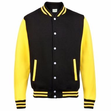 Varsity jacket zwart/geel voor dames