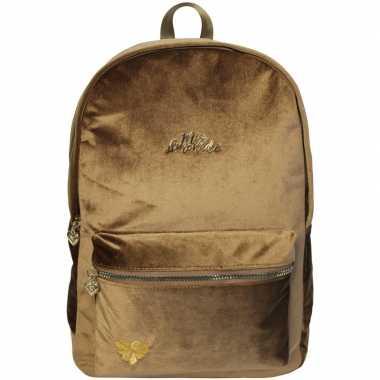 Velvet backpack/rugzak camelbruin/goud 32 x 42 cm miss lemonade voor