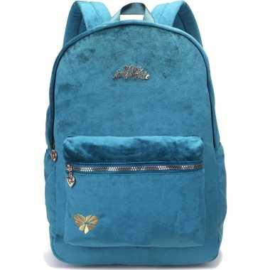 Velvet backpack/rugzak petrol blauw/groen 32 x 42 cm miss lemonade vo