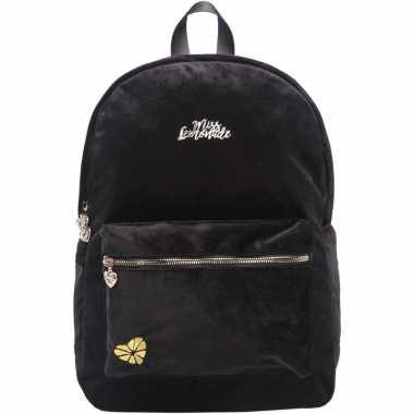 Velvet backpack/rugzak zwart 32 x 42 cm miss lemonade voor dames/meis