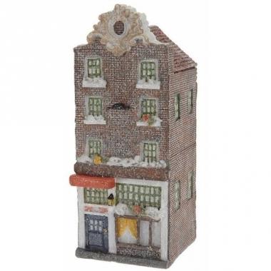 Vensterbank kersthuisje bruin amsterdams huisje 16 cm