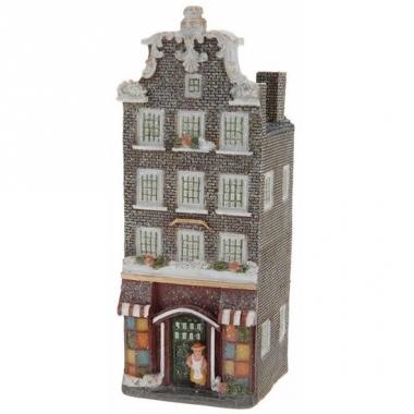 Vensterbank kersthuisje grijs amsterdams huisje 16 cm