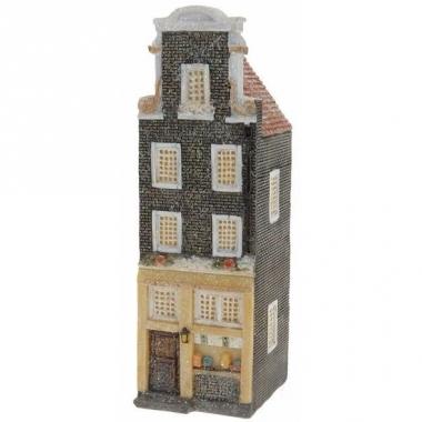 Vensterbank kersthuisje zwart amsterdams huisje 16 cm