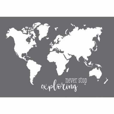 Verfsjabloon wereld kaart 42 x 29 cm