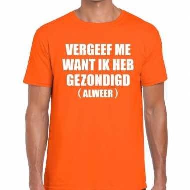 Vergeef me tekst t-shirt oranje heren