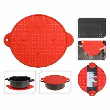 Vergiet/onderzetter/spatdeksel 3-in-1 rood