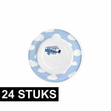 Verjaardag bordjes met vliegtuigen 24 stuks