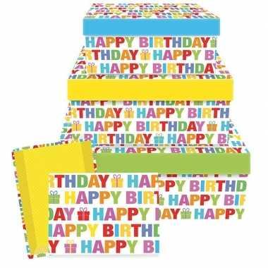 Verjaardag cadeauverpakking happy birthday 17,5 cm