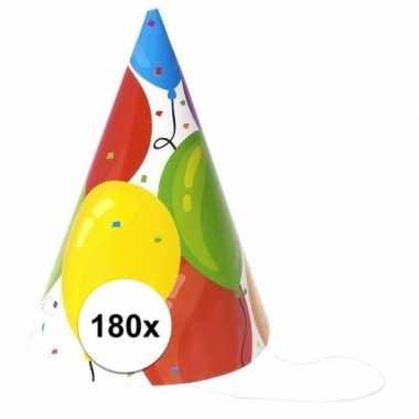 Verjaardag hoedjes ballonnen van papier 180x