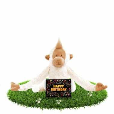 Verjaardag knuffel aapje 23 cm met gratis verjaardagskaart