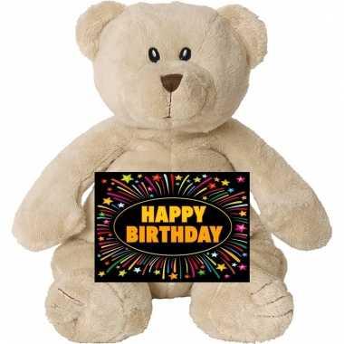 Verjaardag knuffel beer 17 cm met gratis verjaardagskaart