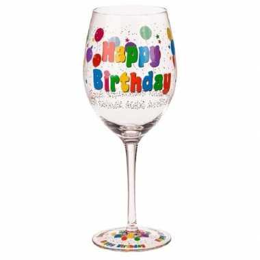 Verjaardag wijnglas met ballonnen