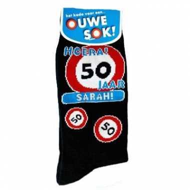 Verjaardags sokken 50 jaar sarah
