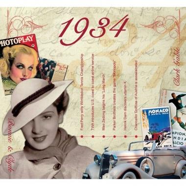 Verjaardagskaart met geboorte jaar 1934