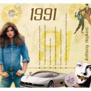 Verjaardagskaart met geboorte jaar 1991