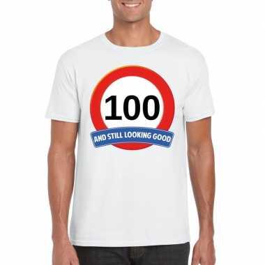 Verkeersbord 100 jaar t-shirt wit heren
