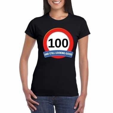 Verkeersbord 100 jaar t-shirt zwart dames
