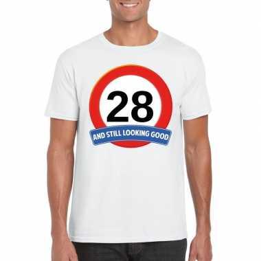 Verkeersbord 28 jaar t-shirt wit heren