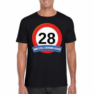 Verkeersbord 28 jaar t-shirt zwart heren