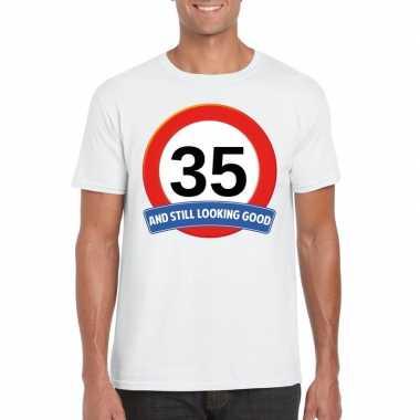 Verkeersbord 35 jaar t-shirt wit heren