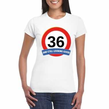 Verkeersbord 36 jaar t-shirt wit dames