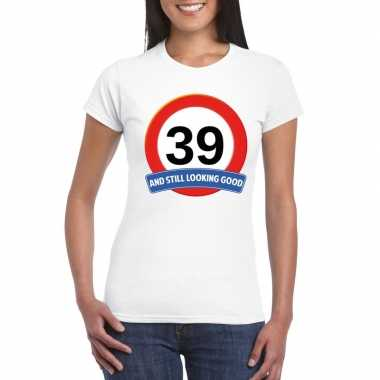 Verkeersbord 39 jaar t-shirt wit dames