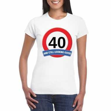 Verkeersbord 40 jaar t-shirt wit dames